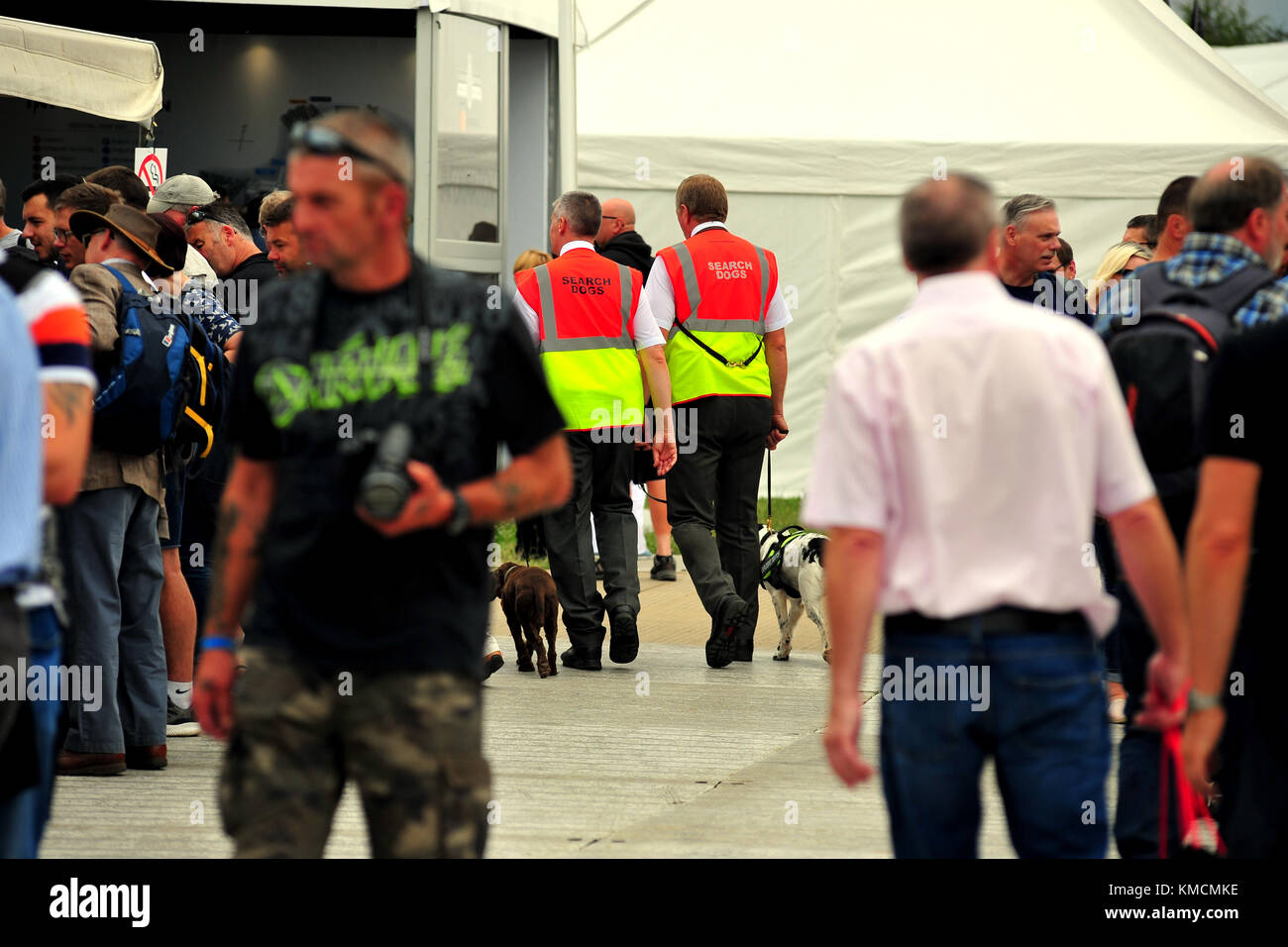 Sniffer dogs and their handlers at the Goodwood Festival of Speed. - Stock Image
