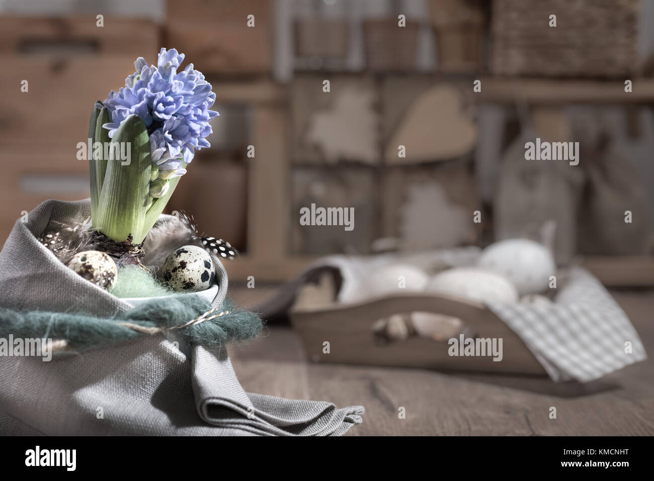 Delicate blue hyacinth on vintage kitchen. Happy Easter! Stock Photo