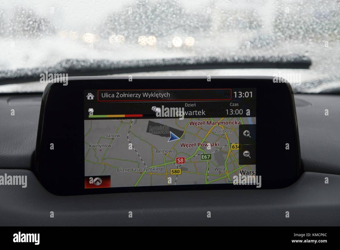 Car satellite navigation (GPS, sat nav) of 2017 Mazda CX-5 II - Stock Image