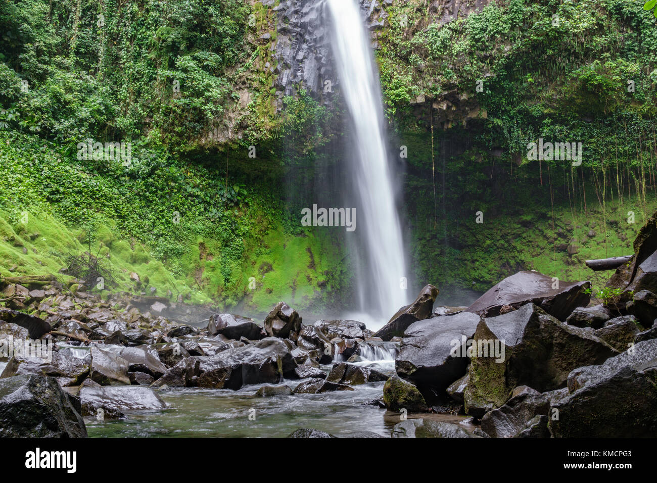 The La Fortuna Waterfall bottom view in Costa Rica - Stock Image