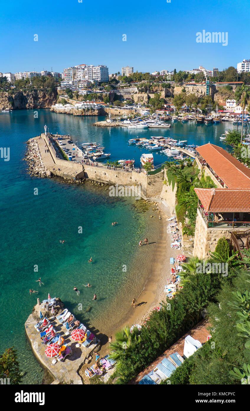 Harbour at the old town Kaleici, UNESCO world heritage site, Antalya, turkish riviera, Turkey - Stock Image