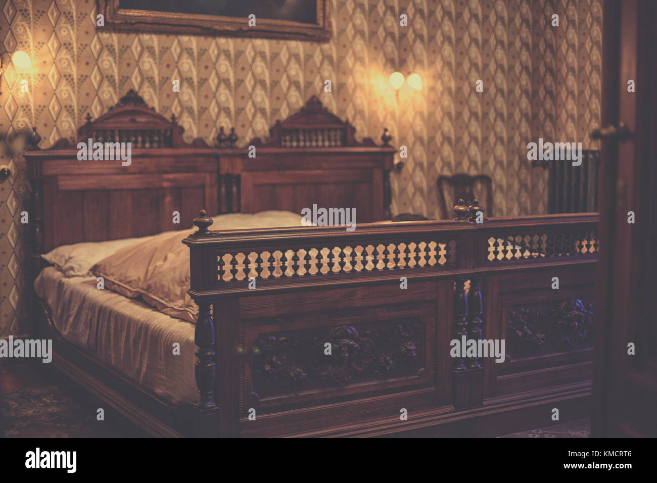 Vintage Wooden Double Bed In Old Bedroom Stock Photo Alamy