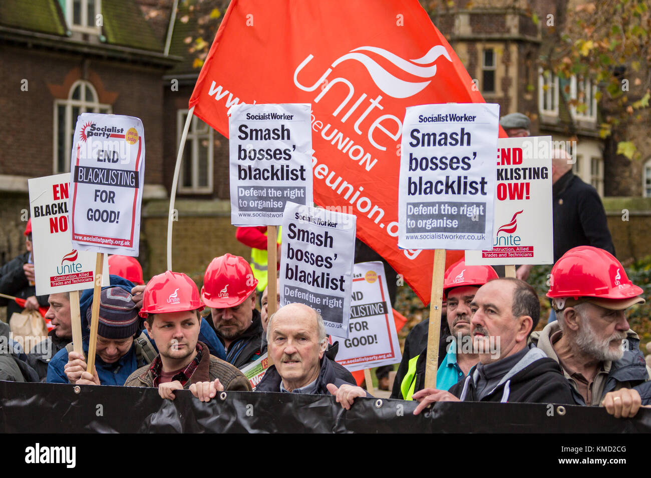 London,UK. 6 December 2017. Trade Unionists joined the call to demand a public inquiry into blacklisting and to - Stock Image