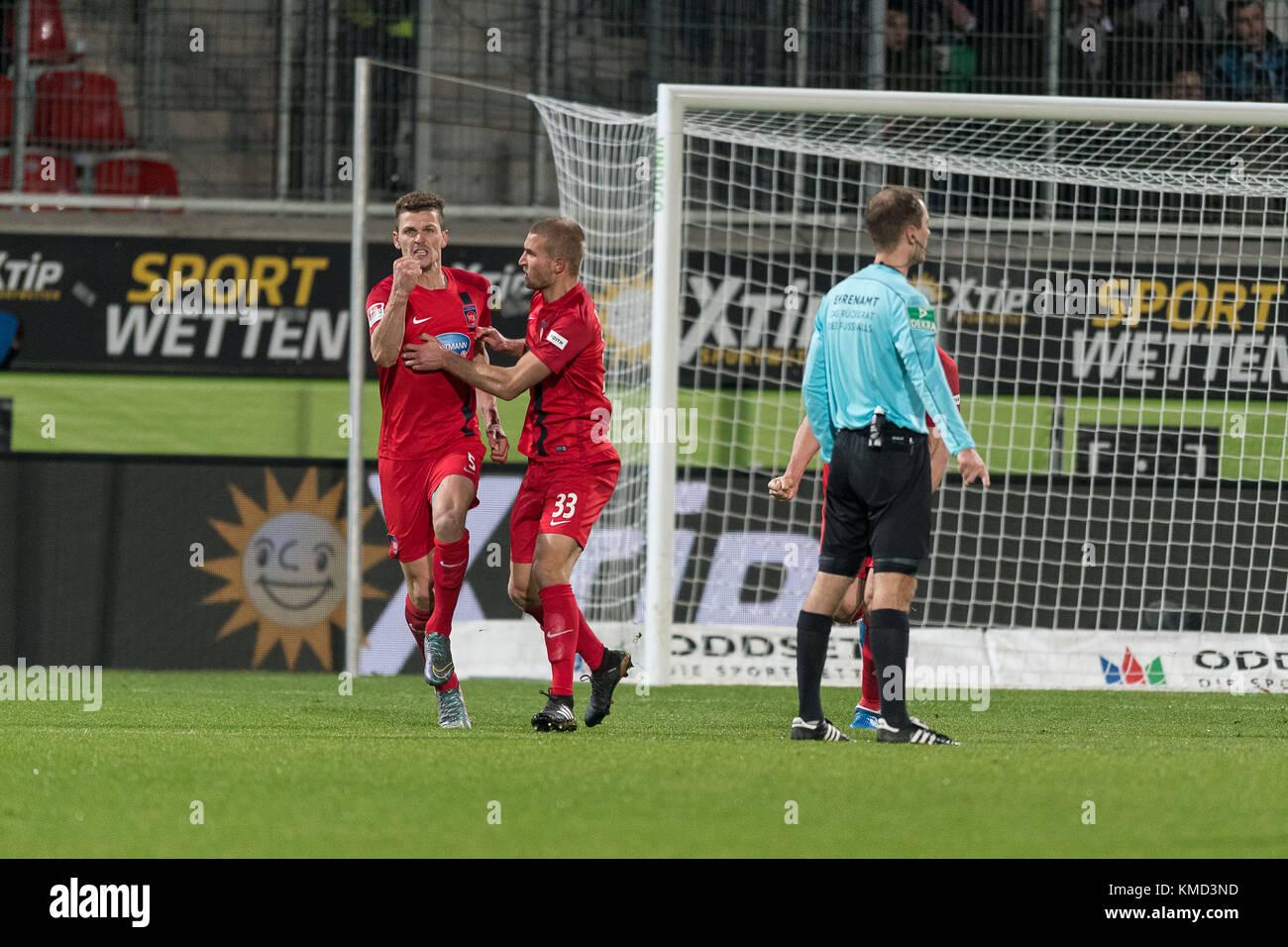 1:0 durch Mathias Wittek #05 (1. FC Heidenheim 1846),  1.FC Heidenheim 1846 vs 1.FC Kaiserslautern,  Herren, Fussball, - Stock Image