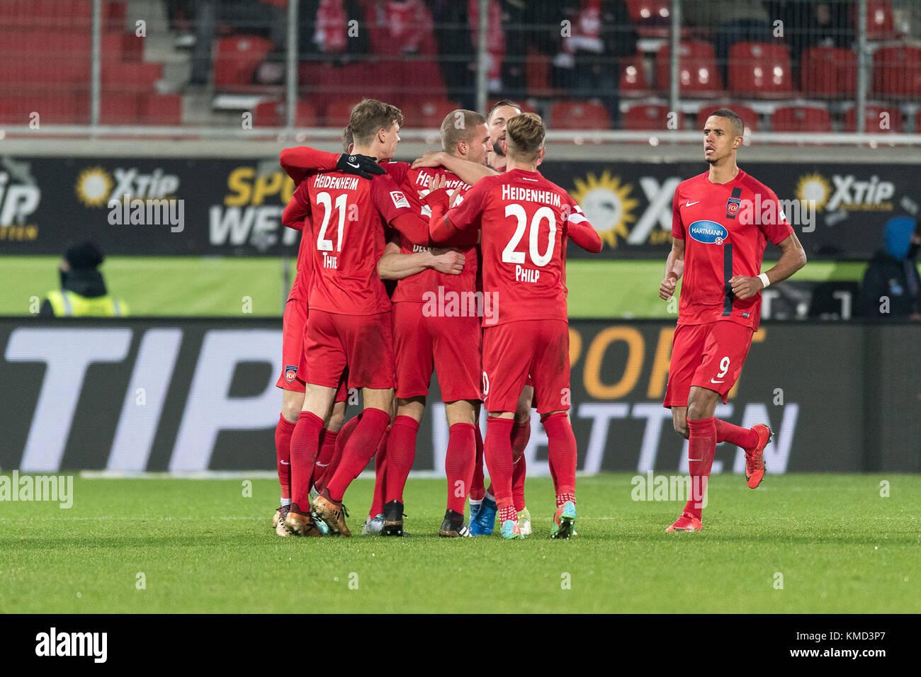 1:0 durch Mathias Wittek #05 (1. FC Heidenheim 1846),  1.FC Heidenheim 1846 vs 1.FC Kaiserslautern,  Herren, Fussball, Stock Photo