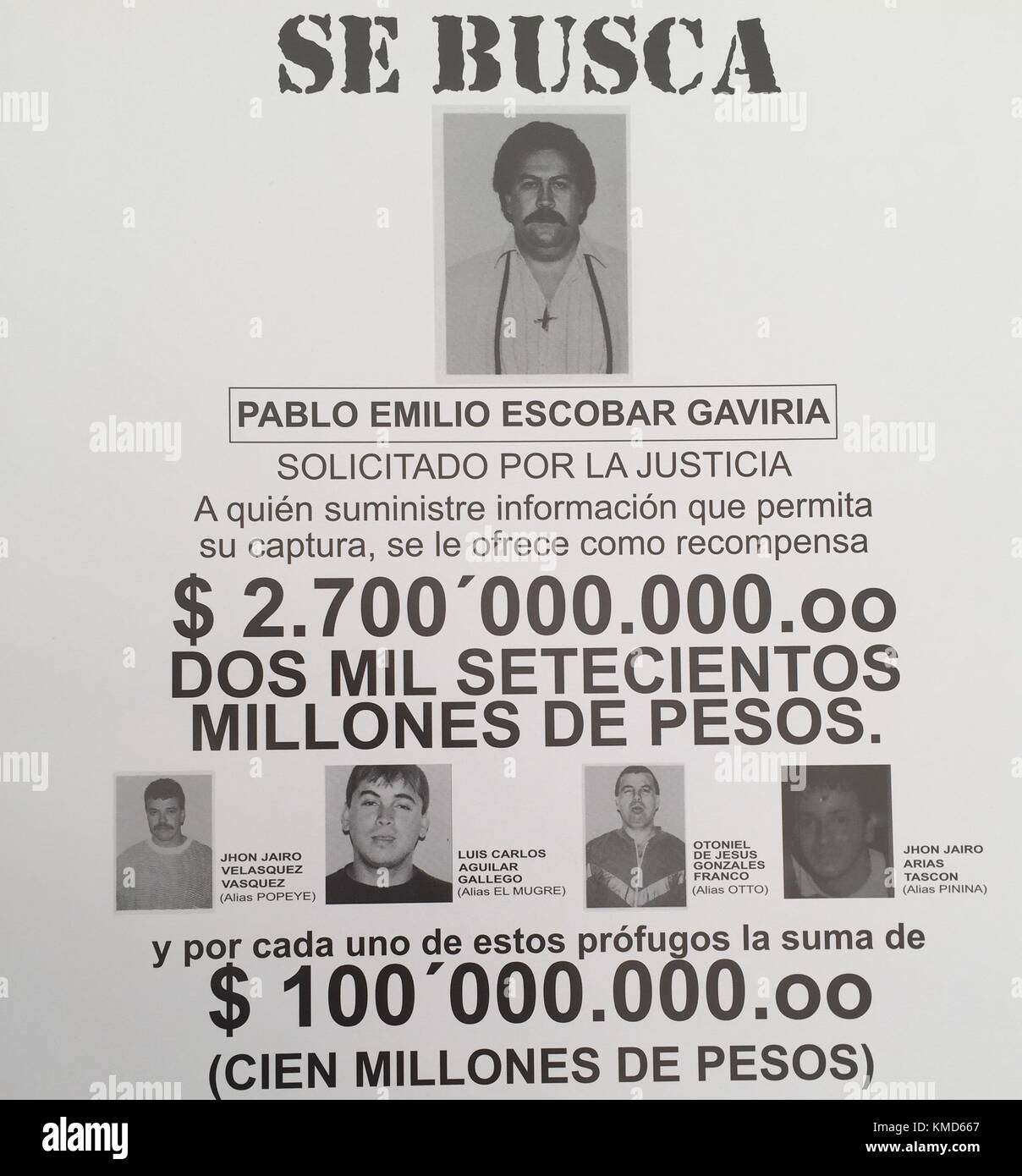 Medellin, Colombia. 07th Mar, 2017. Picture Of A Wanted