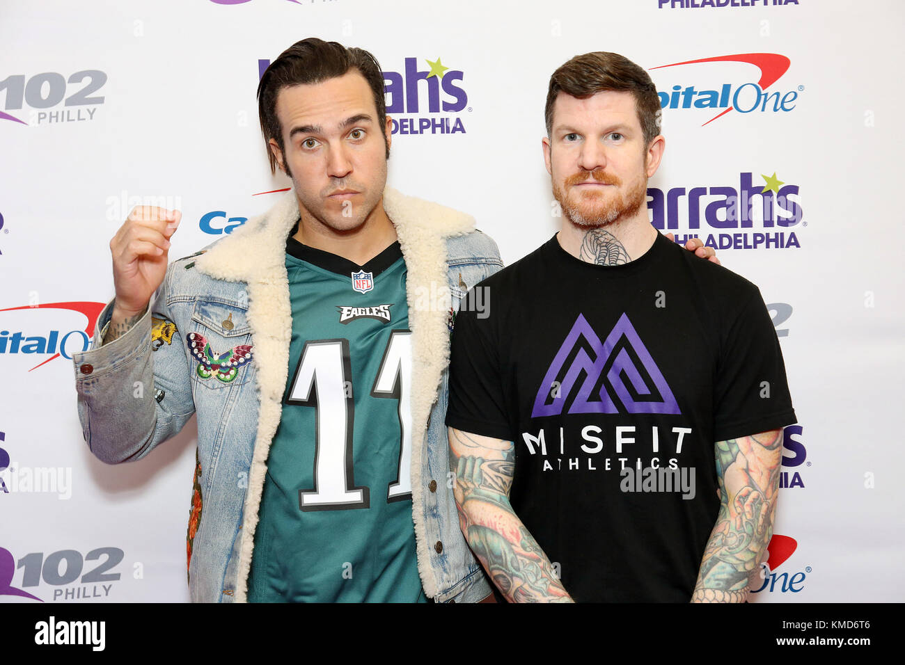 Philadelphia pa usa 6th dec 2017 fall out boy pictured back fall out boy pictured back stage at q102s jingle ball at a meet and greet at the wells fargo center in philadelphia pa on december 6 m4hsunfo