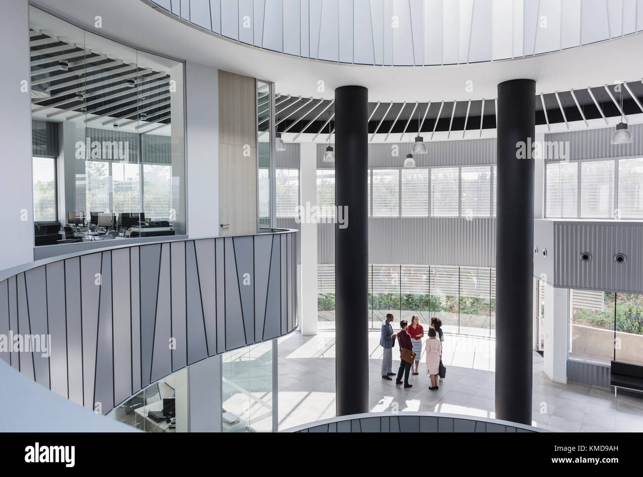 Modern office architecture Office Block Business People Talking In Architecturalmodern Office Atrium Stock Image Alamy Modern Office Architecture Atrium Stock Photos Modern Office