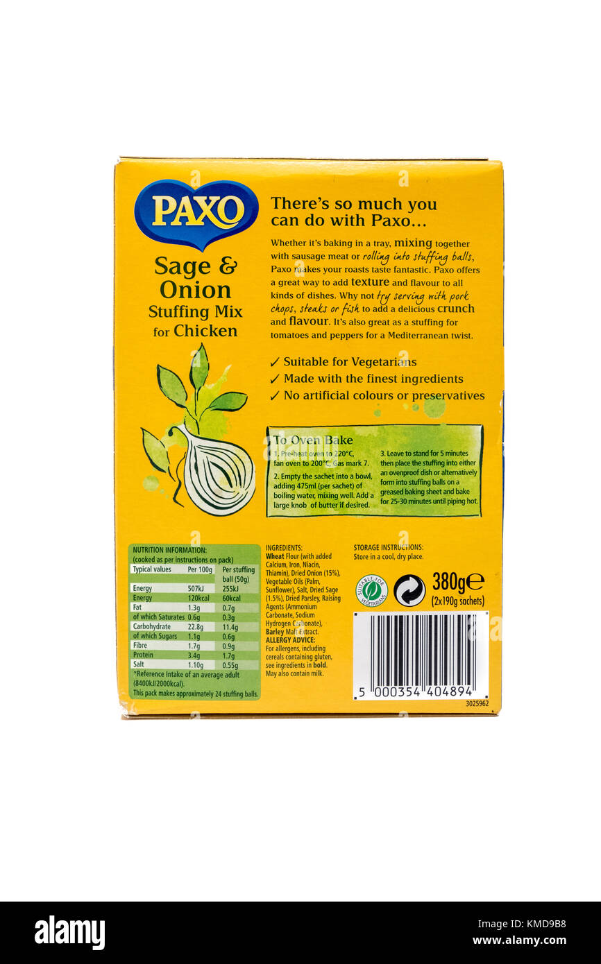 The back of a box of Paxo brand stuffing mix showing ingredients, nutritional information and barcode. - Stock Image