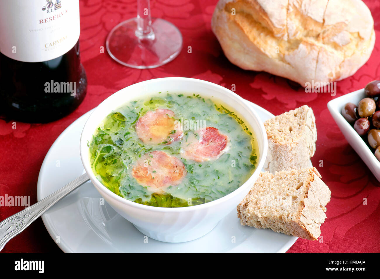 Caldo Verde soup, O Muro Antigo Restaurante, Porto, Portugal - Stock Image