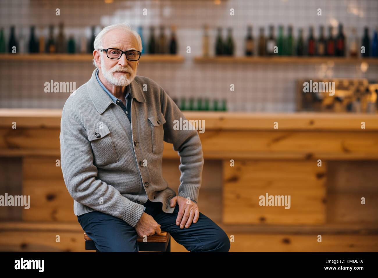 senior man at bar - Stock Image