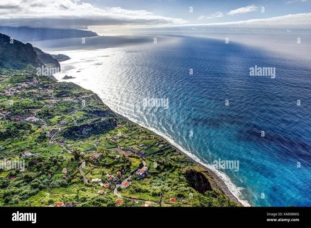 Viewpoint Madeira Portugal - amazing view over atlantic ocean - Stock Image