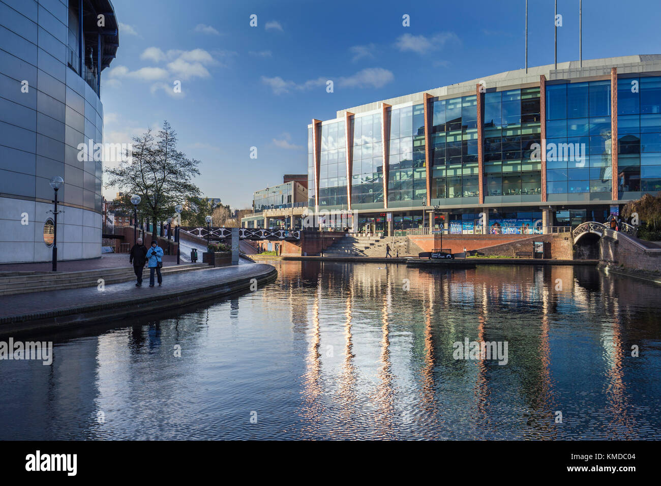 Birmingham City Centre Buildings Reflected on Surface of Canal Stock Photo