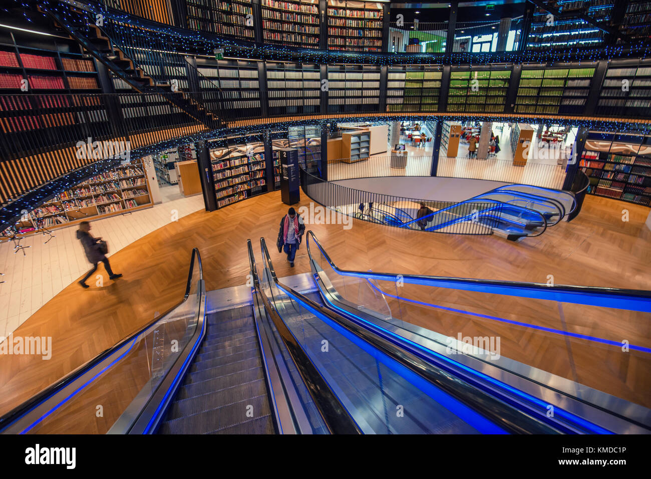BIRMINGHAM, UK - DECEMBER 01, 2017: Modern design of public library Stock Photo