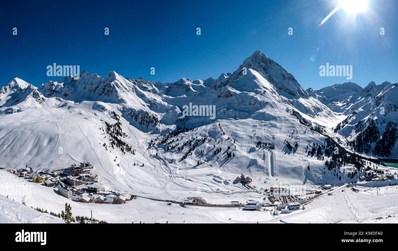 Kuhtai ski resort winter panorama - Stock Image