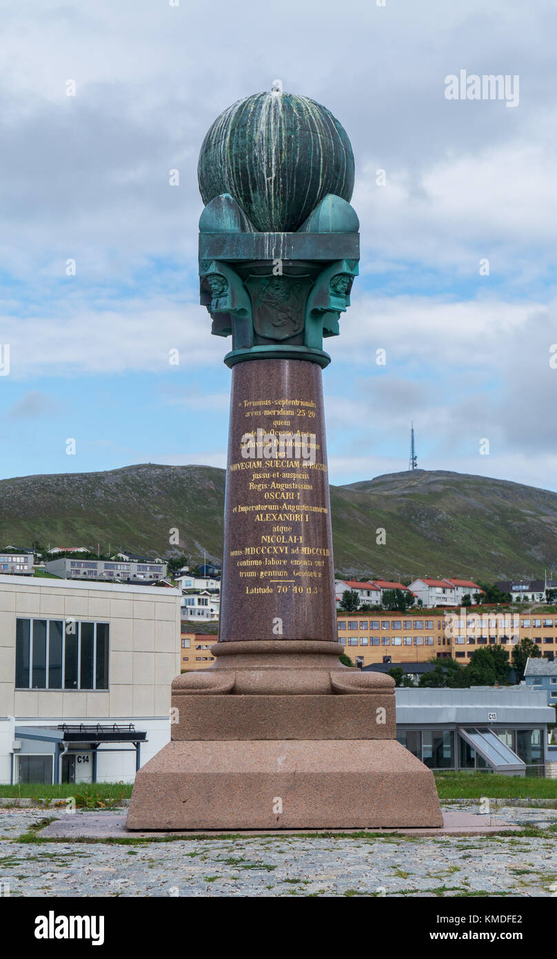 The northernmost station of the Struve Geodetic Arc, Hammerfest, Norway Stock Photo