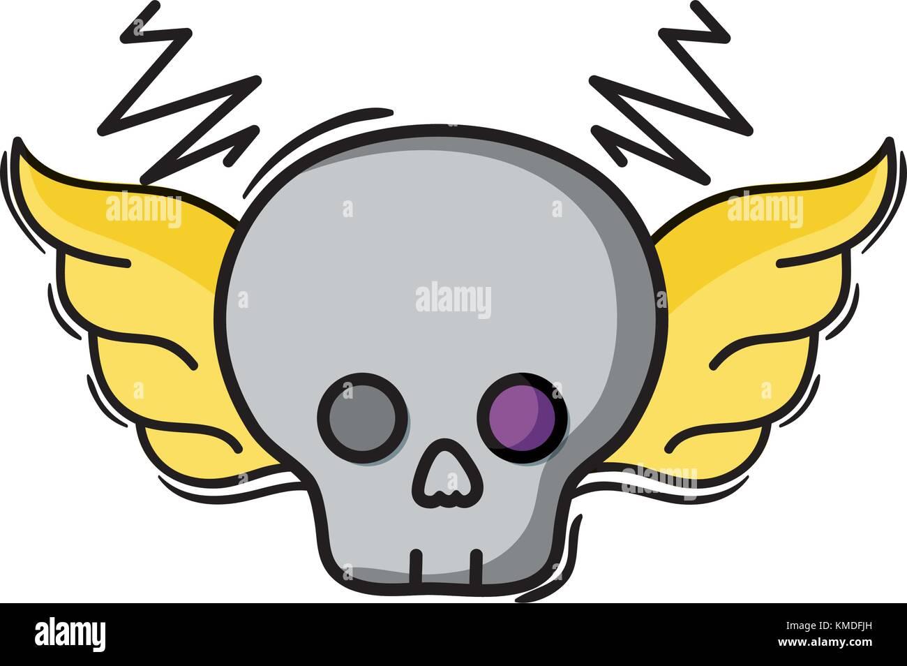 Skull With Wings Rock Art Symbol Stock Vector Art Illustration