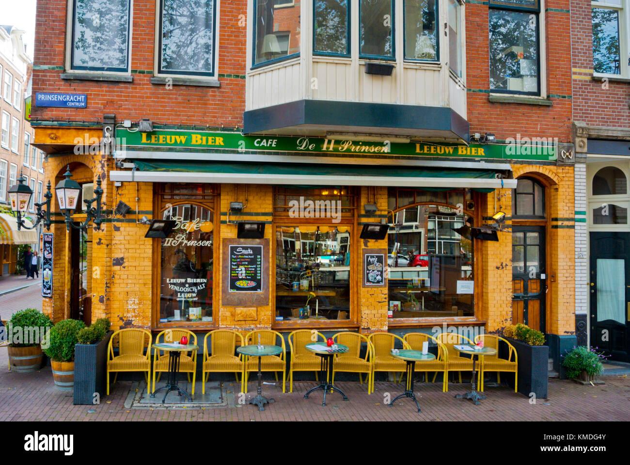 Cafe bar, Prinsengracht, Amsterdam, The Netherlands - Stock Image