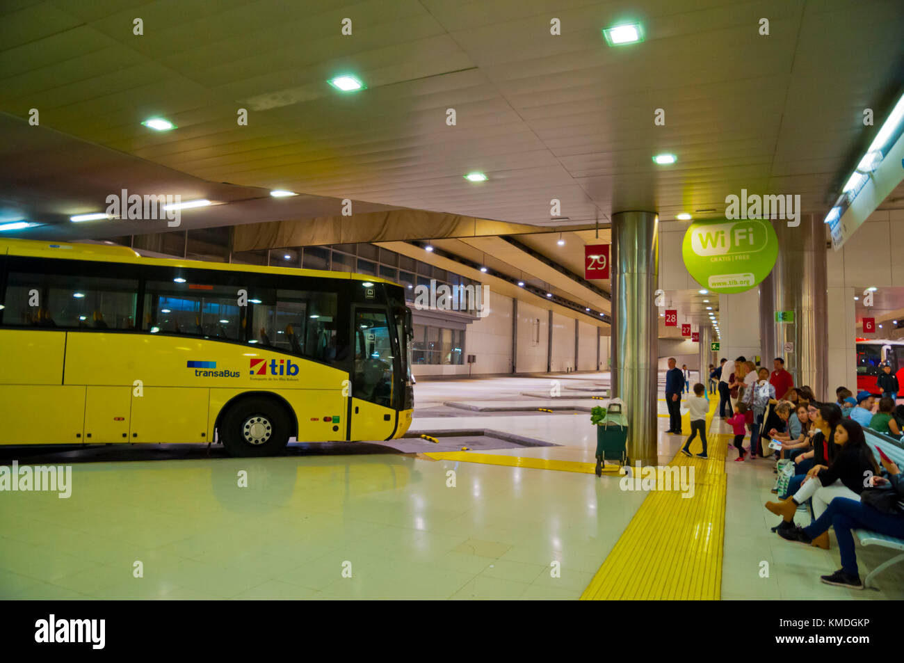 Estacio Intermodal, long distance underground bus station, Palma, Mallorca, Balearic islands, Spain - Stock Image