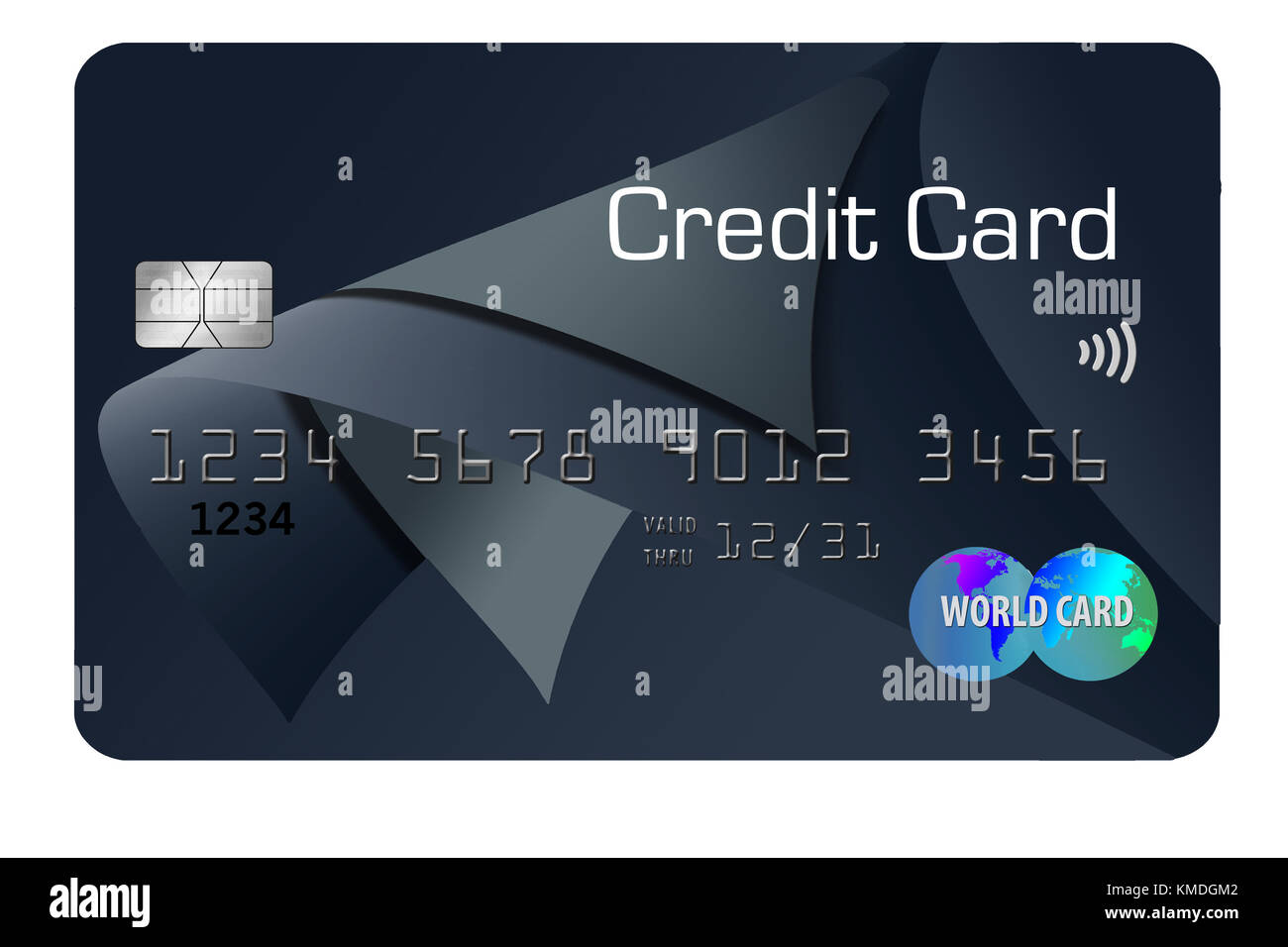 A modern design pre-paid  credit card is seen in this 3-D illustration. - Stock Image