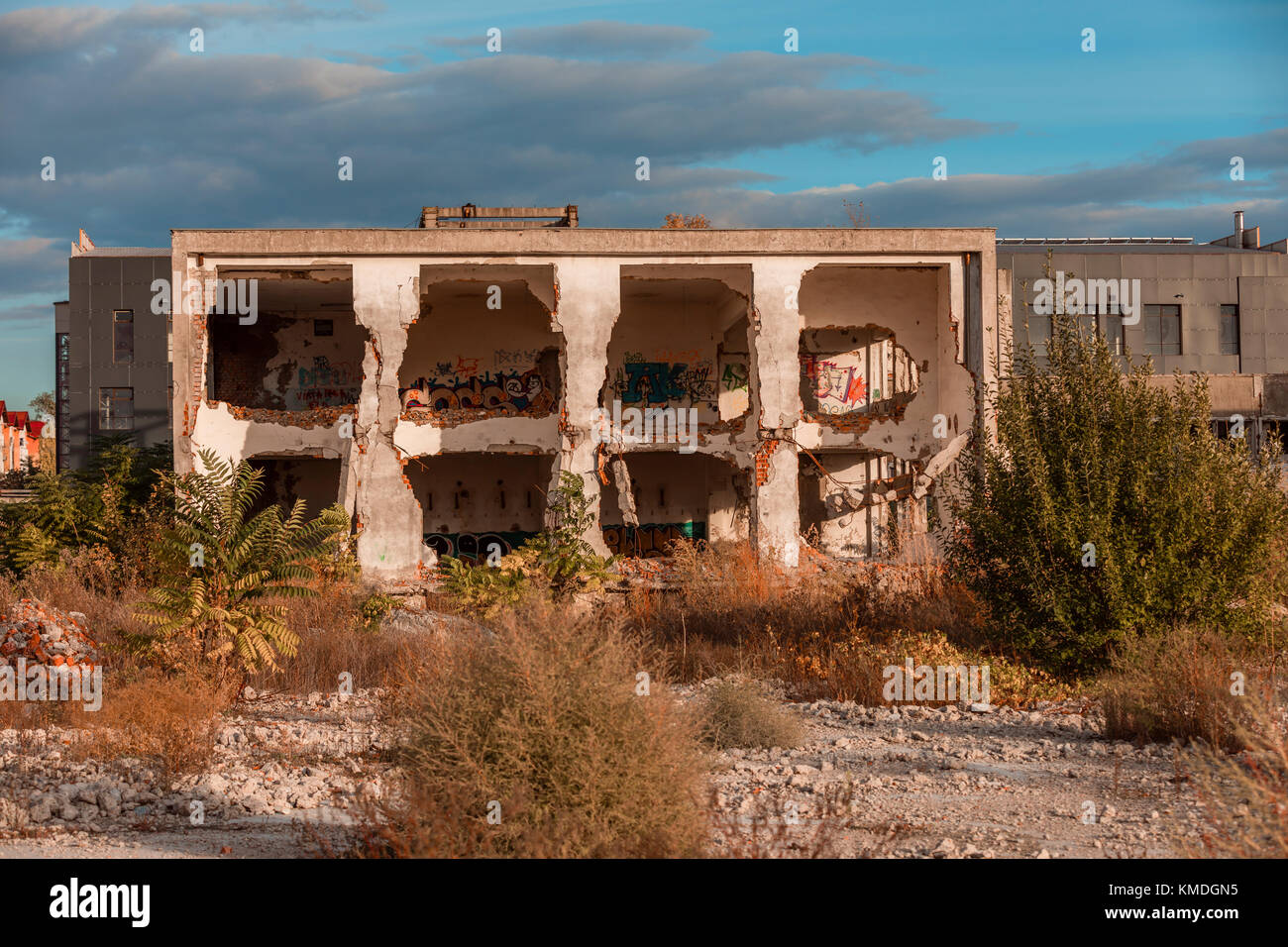 One of the Abandoned Buildings of a Post Communist Industrial Complex - Stock Image