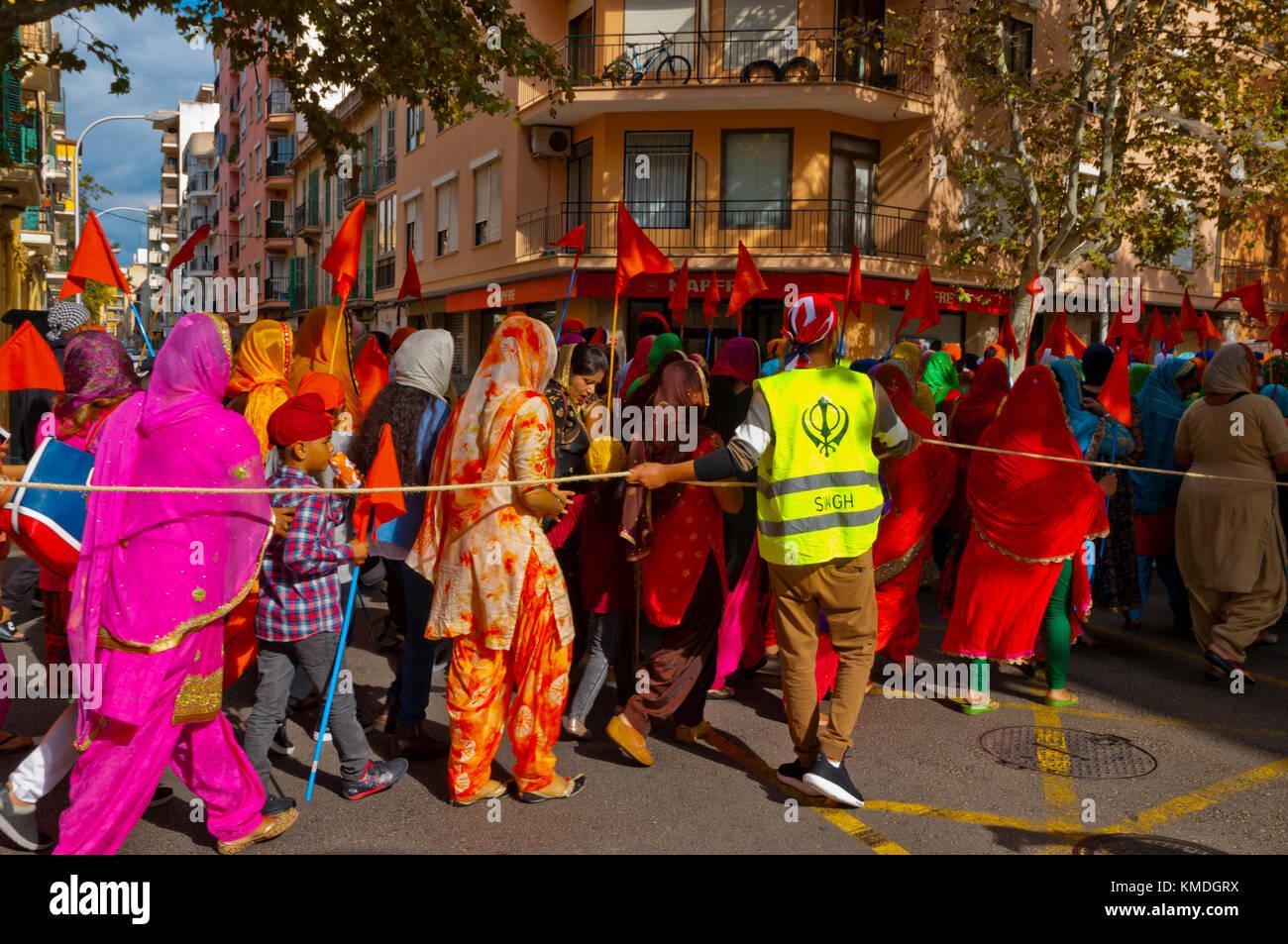 March and celebration of founder of Sikh religion, Guru Nanak Dev Ji, Palma, Mallorca, Balearic islands, Spain - Stock Image