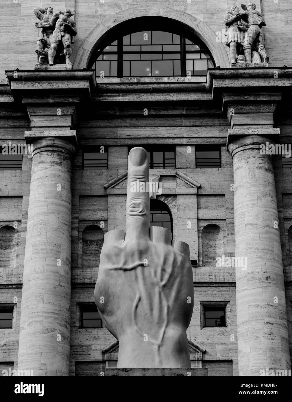 THE MIDDLE FINGER, MAURIZIO CATTELAN, MILAN - Stock Image