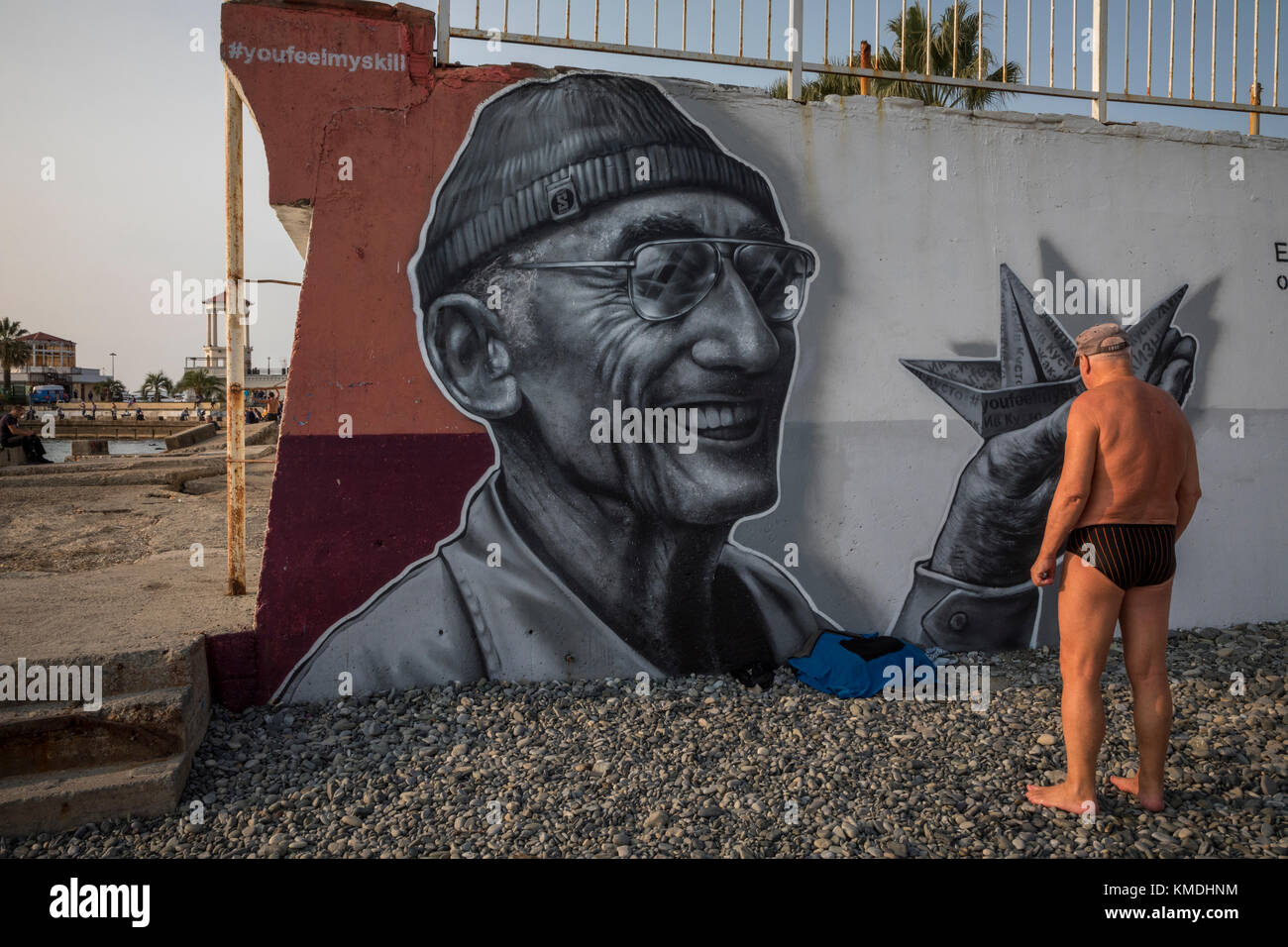 Portrait of the French explorer Jacques-Yves Cousteau on central city beach 'Mayak' in Sochi city, Krasnodar - Stock Image