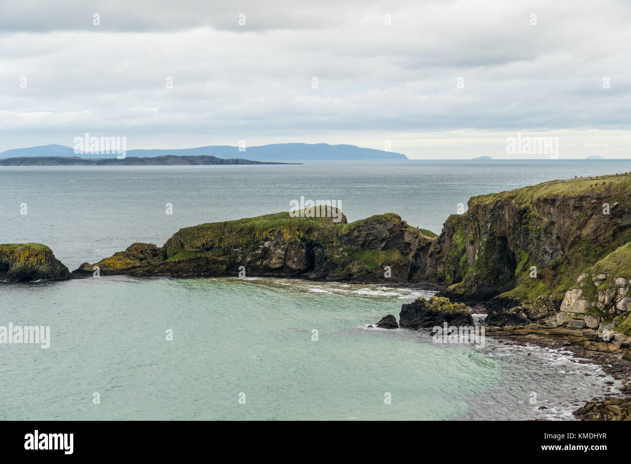 Carrick a rede rope bridge on the Causway coast Northern Ireland - Stock Image