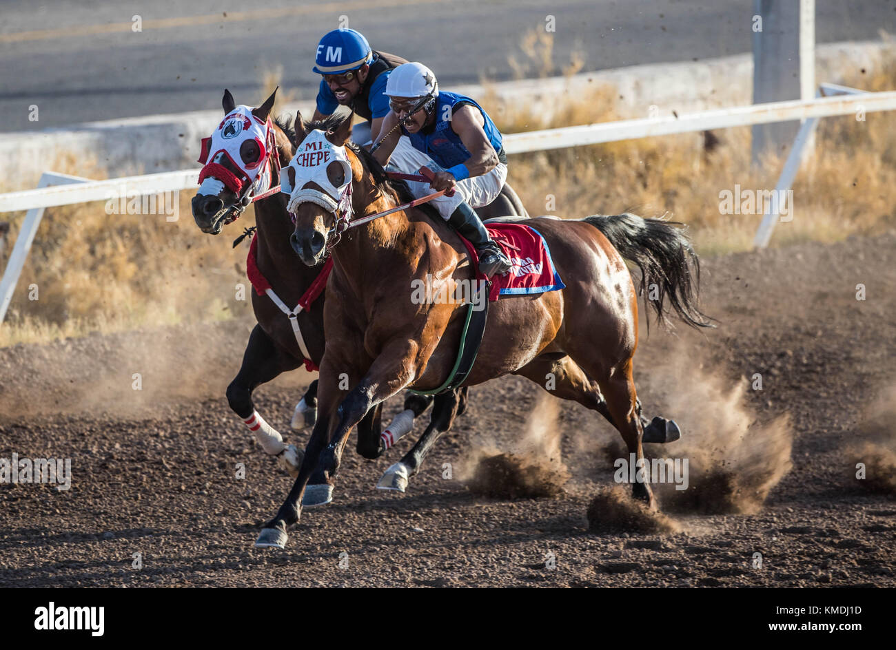 Horse racing at sunset at Hippodrome of Hermosillo, Sonora Mexico. Mexican guys trying to win the race. (Photo: - Stock Image