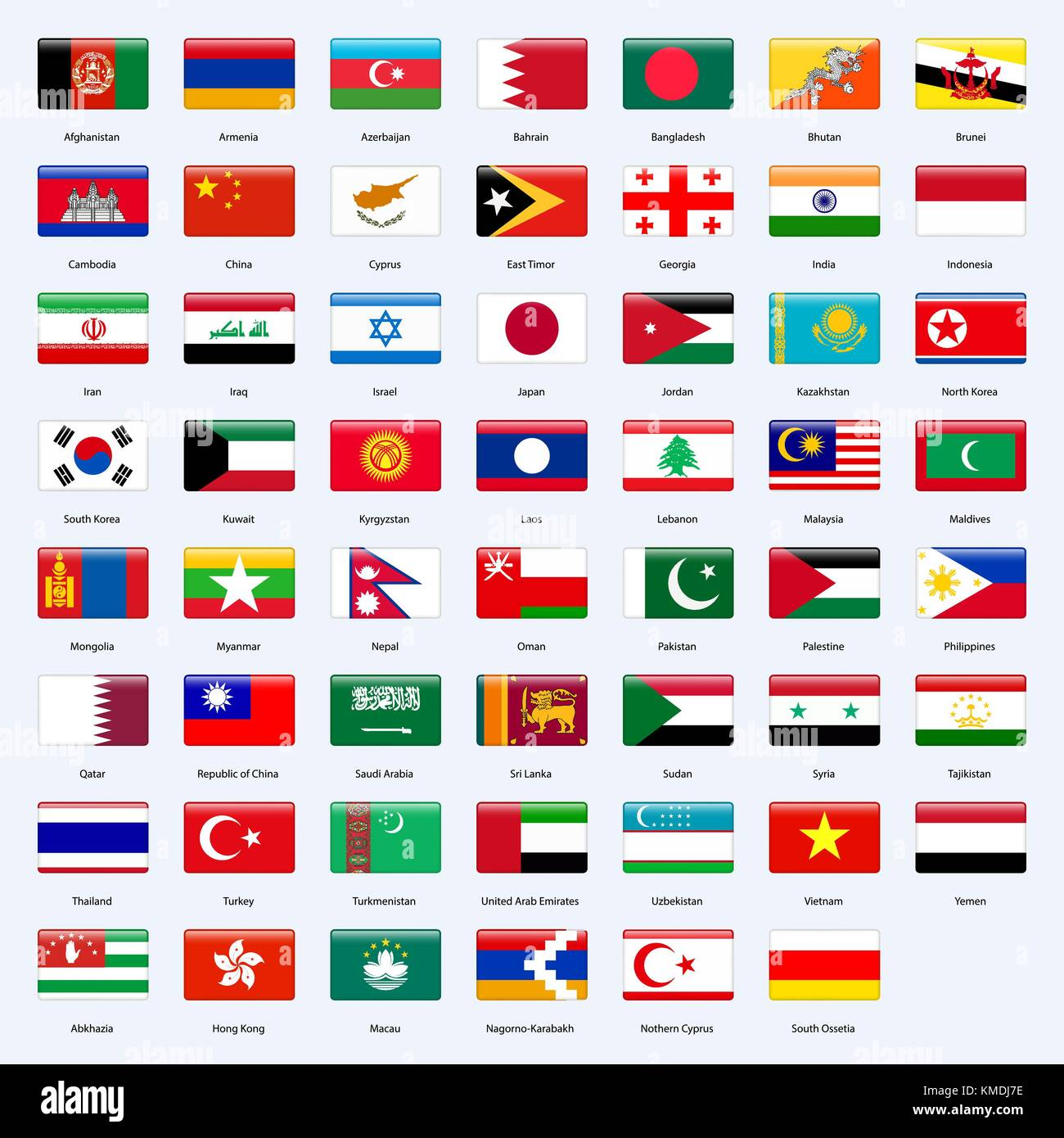 All flags of the countries of the Asia. Rectangle glossy style. - Stock Vector
