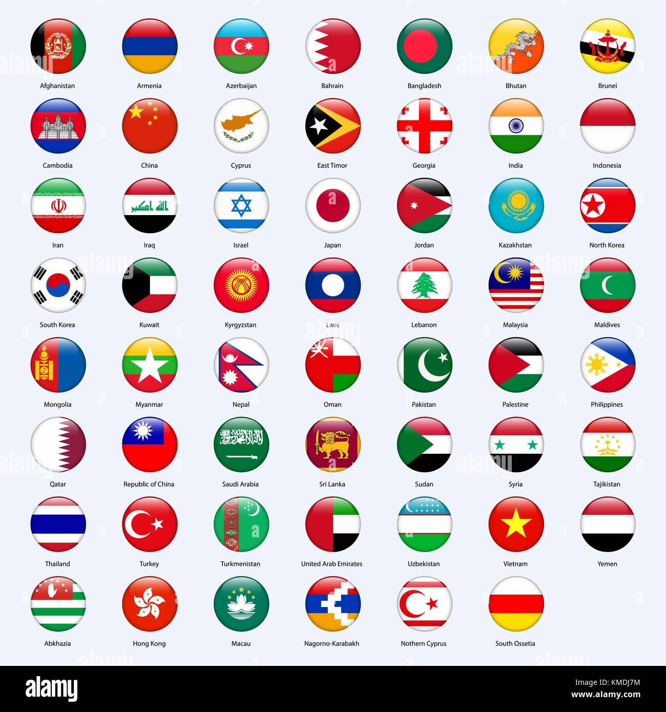 All flags of the countries of the Asia. Round glossy style. - Stock Vector