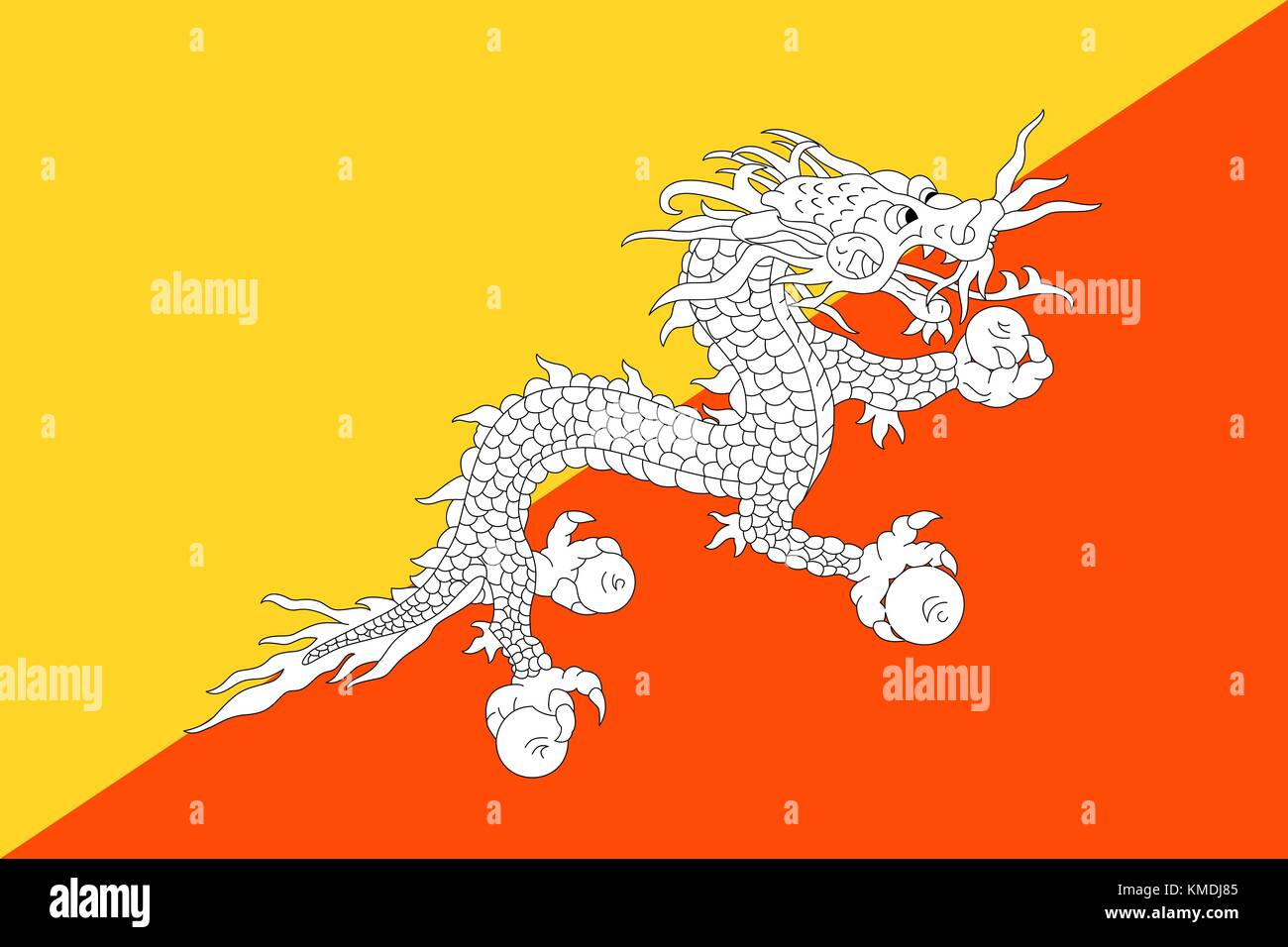 National flag of Bhutan. Vector illustration, template - Stock Vector