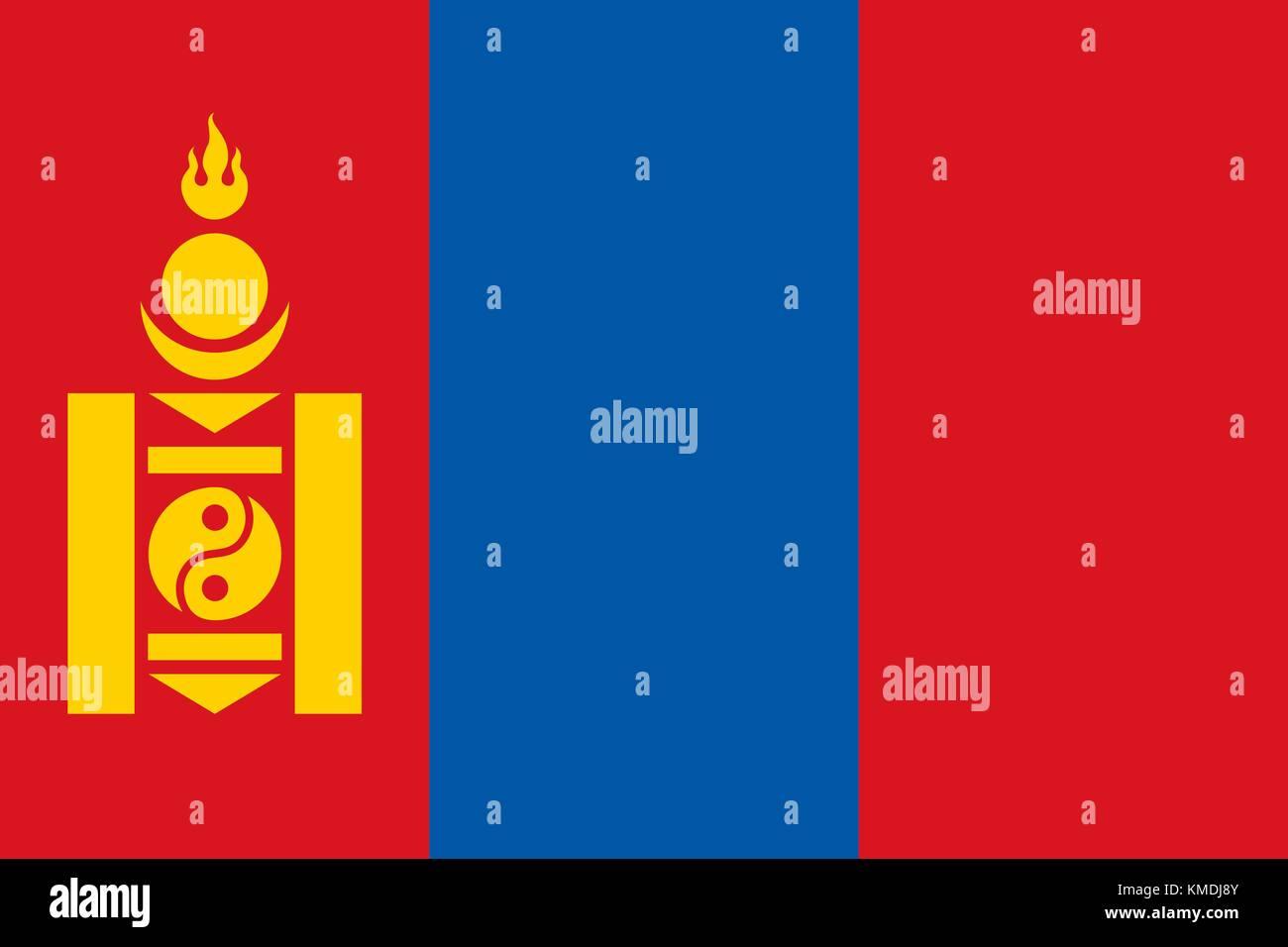 National flag of Mongolia. Vector illustration, template Stock Vector