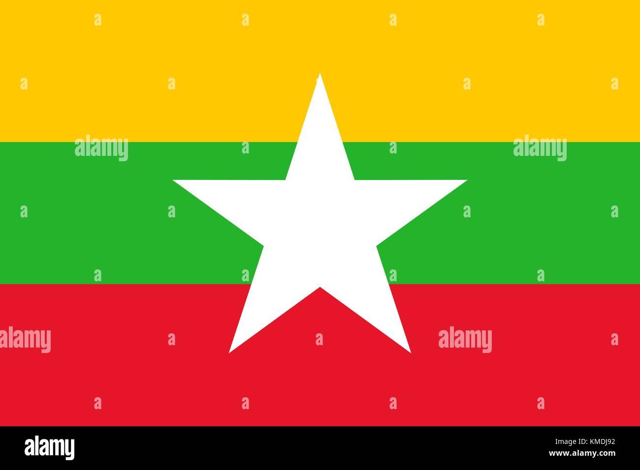 National flag of Myanmar. Vector illustration, template - Stock Vector