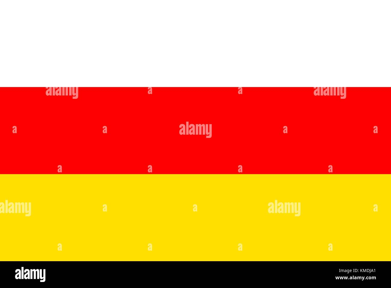 National flag of South Ossetia. Vector illustration, template - Stock Image
