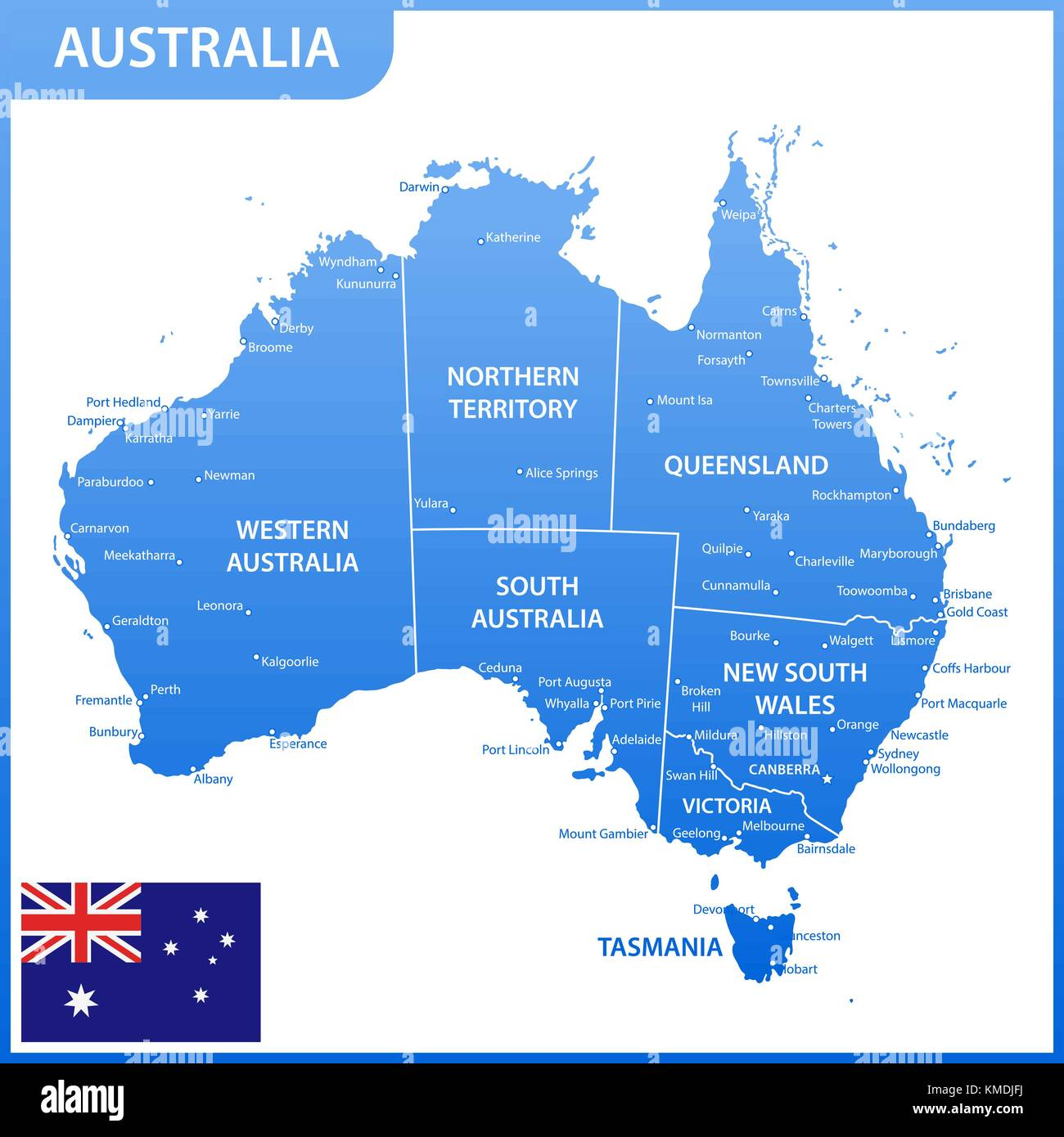 Map Of Australia With States And Capitals.The Detailed Map Of The Australia With Regions Or States And Cities