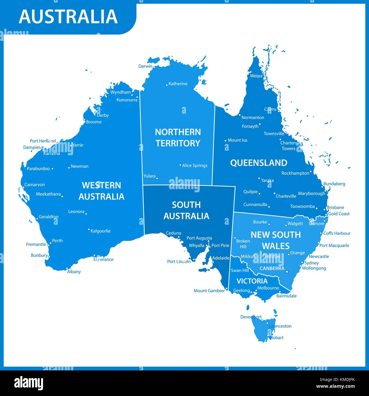 Cities Of Australia Map.The Detailed Map Of The Australia With Regions Or States And Cities