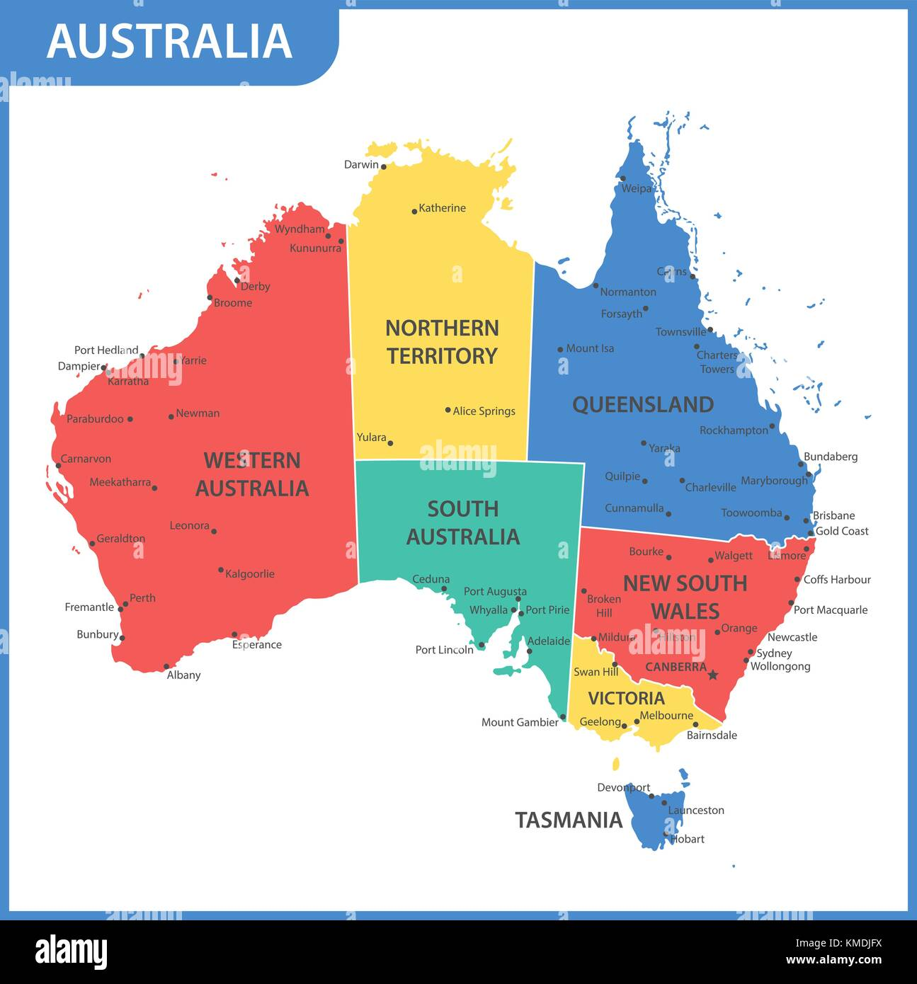Australia Map States And Cities.The Detailed Map Of The Australia With Regions Or States And Cities