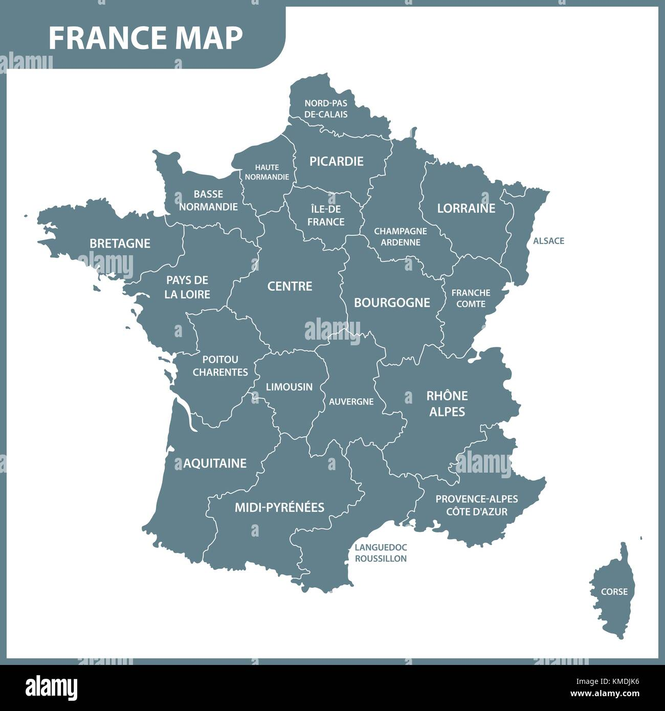 Map Of France With States.The Detailed Map Of The France With Regions Or States Stock Vector