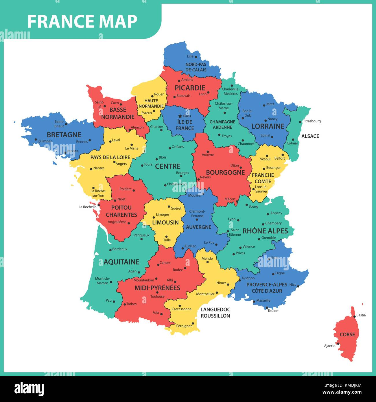The Detailed Map Of The France With Regions Or States And Cities