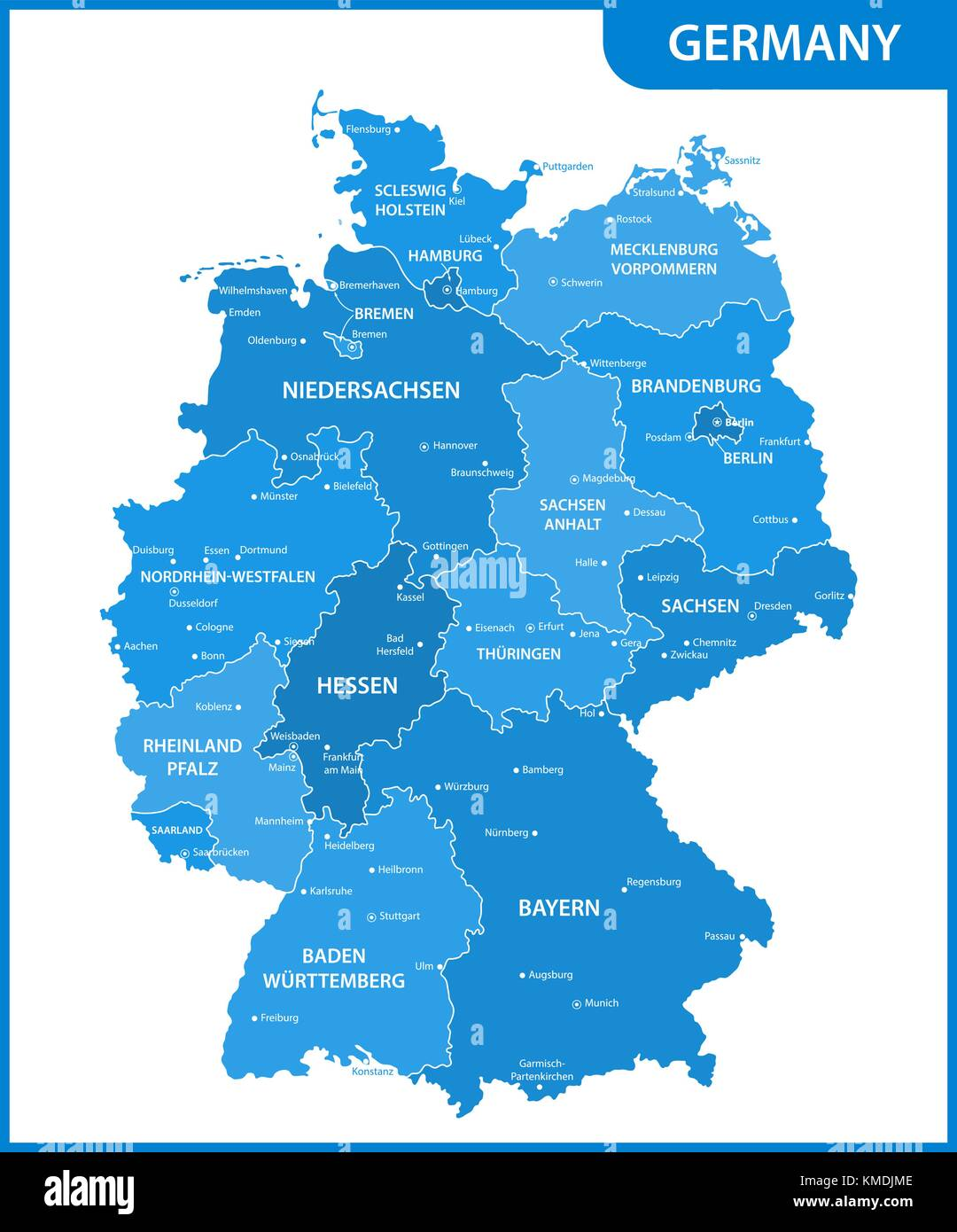 Map Of Cities In Germany.The Detailed Map Of The Germany With Regions Or States And Cities