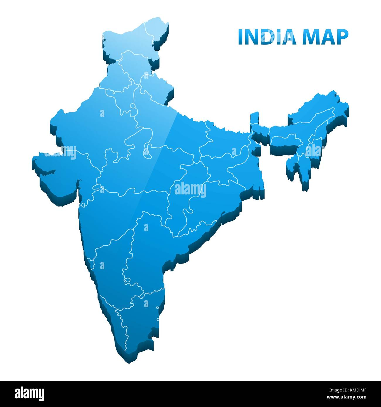 Highly detailed three dimensional map of India with regions border - Stock Image