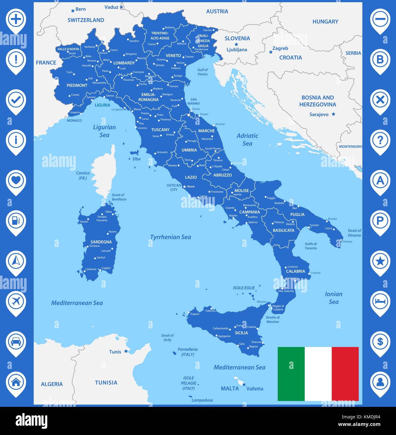 Capital Of Italy Map.The Detailed Map Of The Italy With Regions Or States And Cities