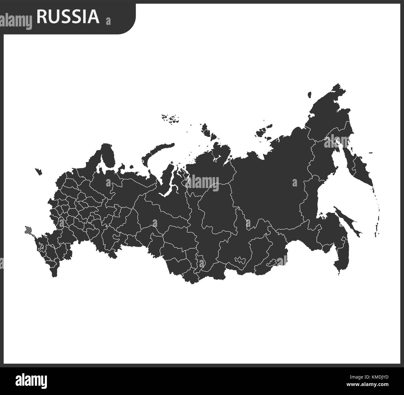 Detailed map of Russia with regions. The Russian Federation with the Crimea as a disputed territory - Stock Image