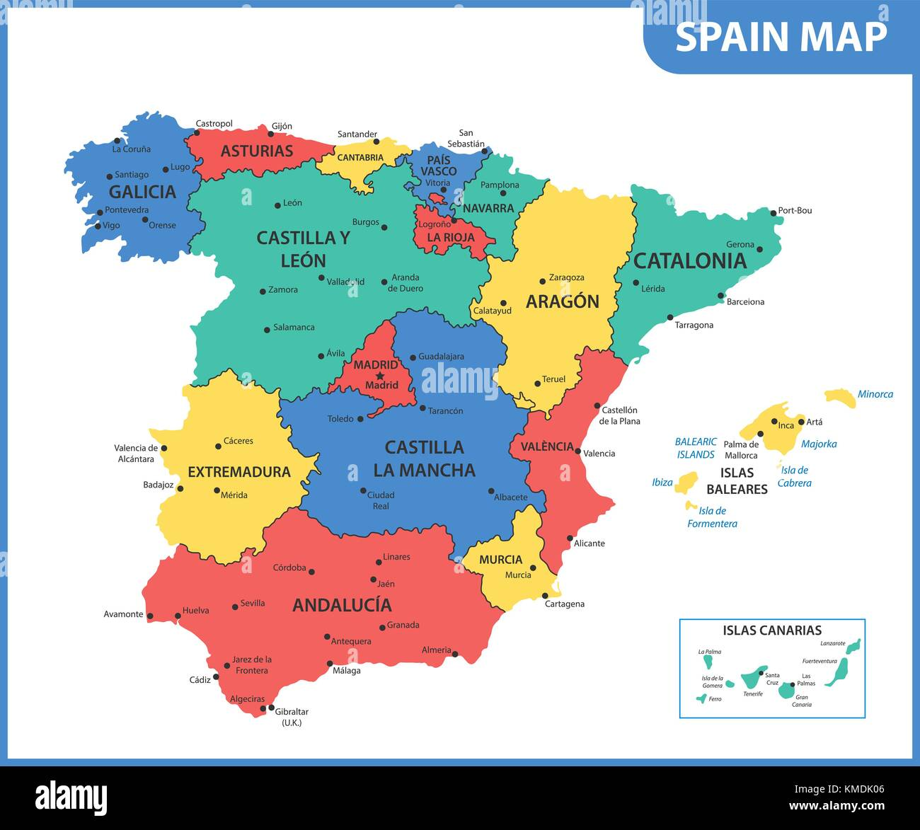 The detailed map of the Spain with regions or states and cities