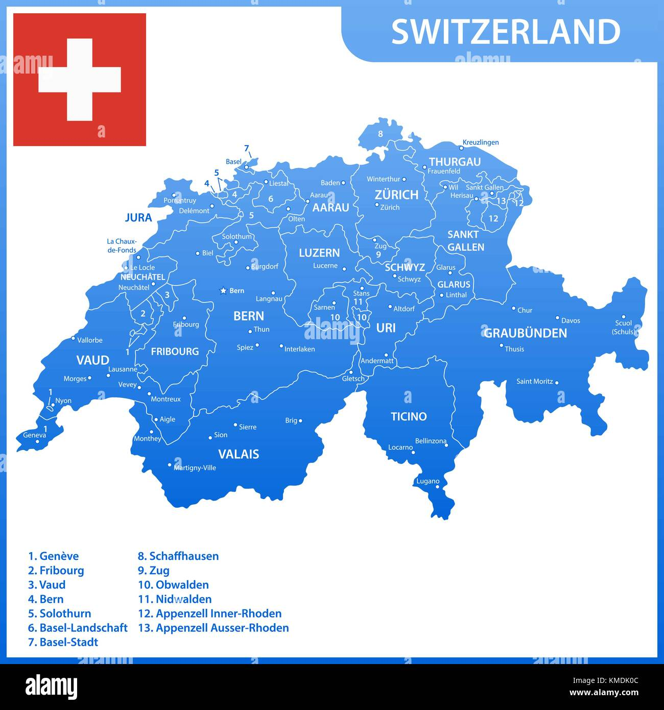 The detailed map of the Switzerland with regions or states and cities, capitals, national flag - Stock Vector