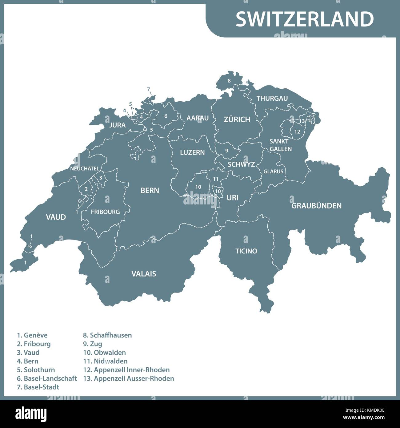 The detailed map of the Switzerland with regions or states - Stock Vector