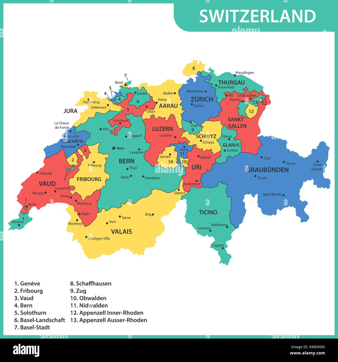 The detailed map of the Switzerland with regions or states and cities, capitals - Stock Vector