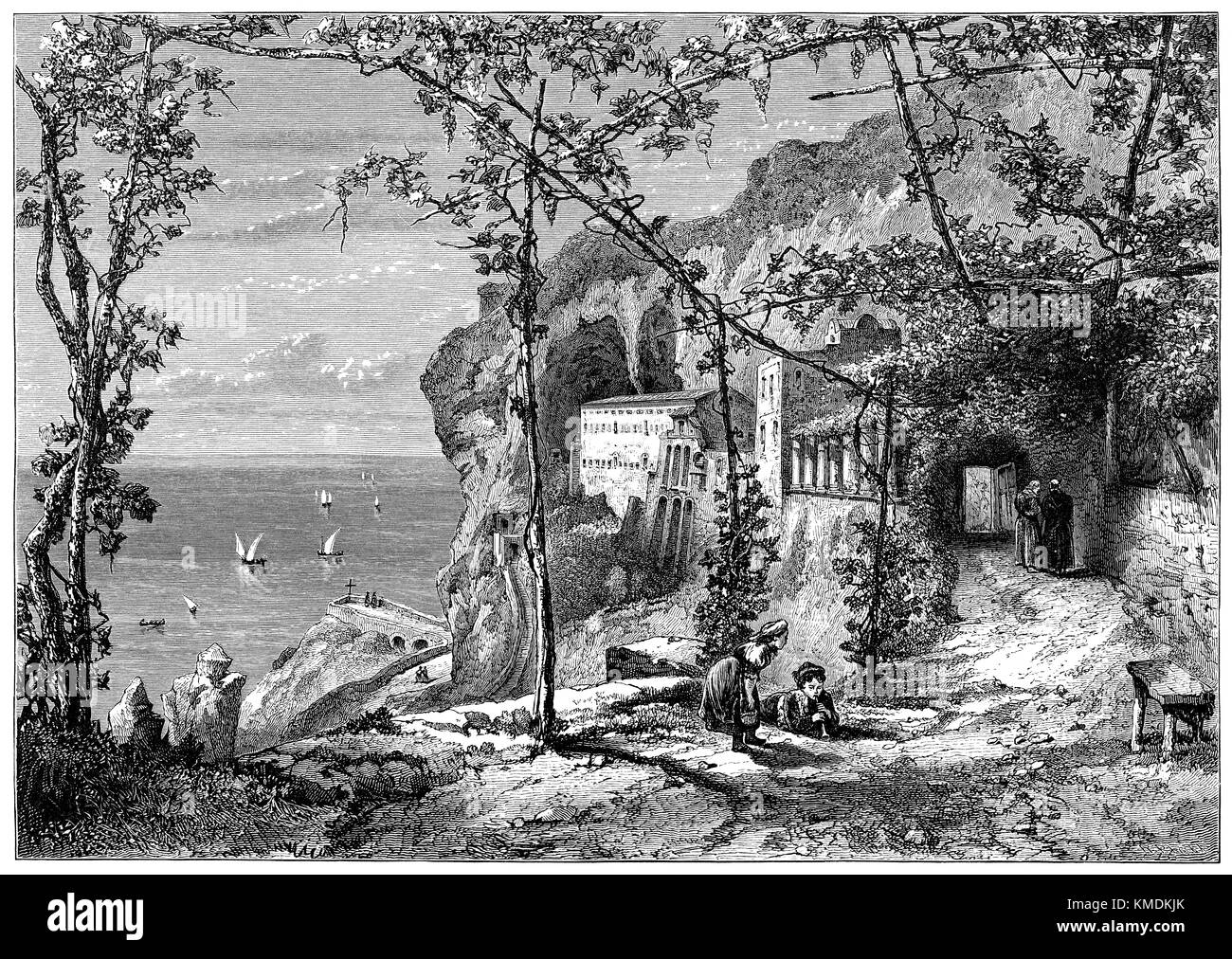 19th century wood engraving of Amalfi in Italy. From an illustration by R.P. Leitch. - Stock Image